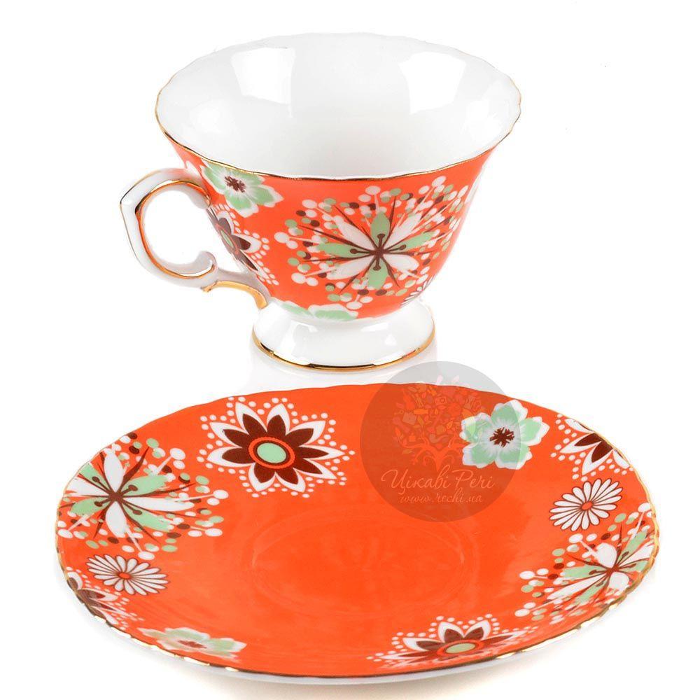 Чайный набор Pavone Антонелла на 2 персоны в оранжево-коричневых тонах
