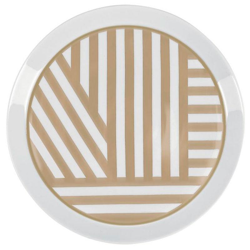 Белая тарелка Miss Etoile с золотистым узором