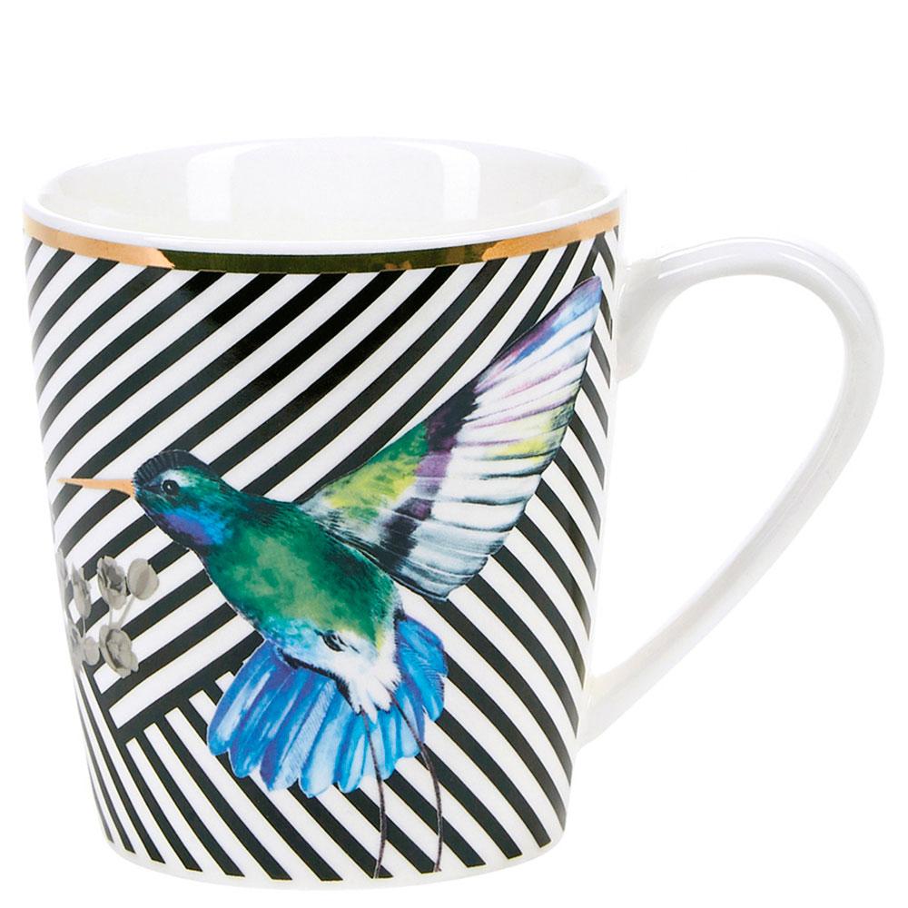 Чашка Miss Etoile в черную полоску с колибри