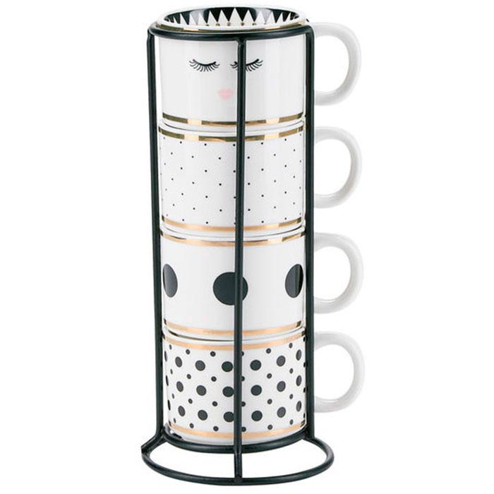 Набор кофейных чашек Miss Etoile белого цвета с принтом