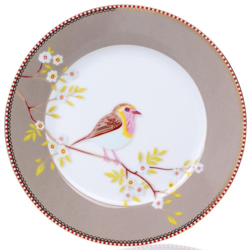 Тарелка Pip Studio Floral диаметром 21 см цвета какао с молоком