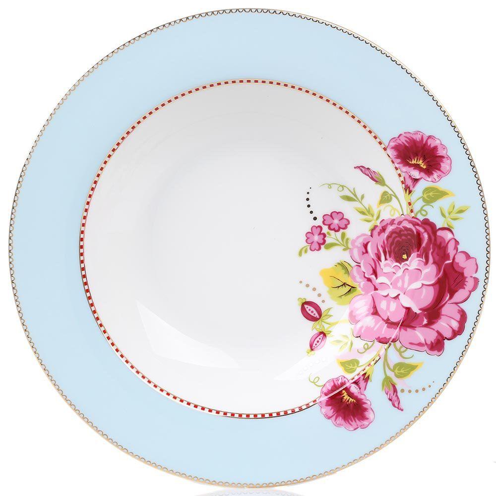 Глубокая тарелка Pip Studio Floral диаметром 26 см голубая с крупным цветком
