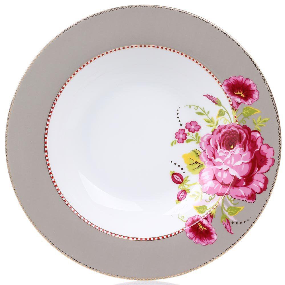 Глубокая тарелка Pip Studio Floral диаметром 26 см светло-коричневая с крупным цветком