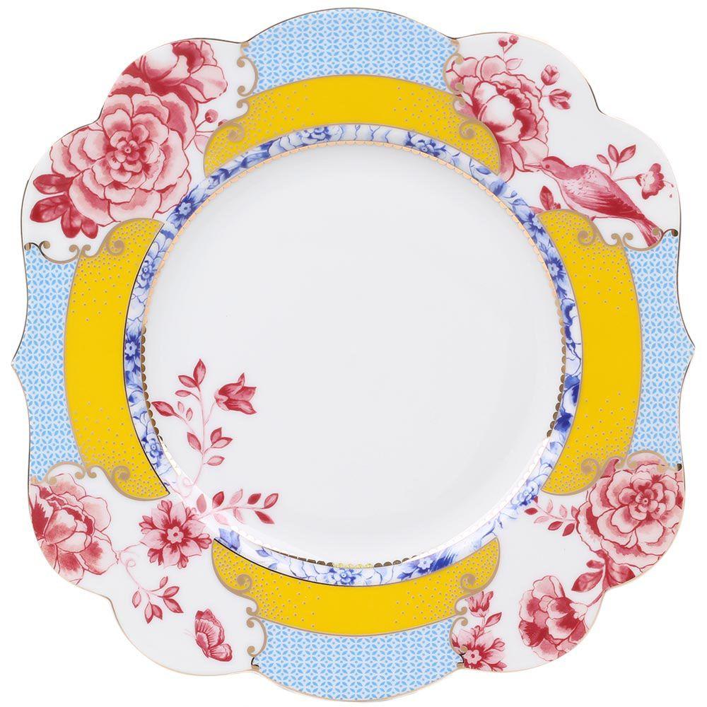 Тарелка Pip Studio Royal диаметром 23 см желто-голубая с розовыми цветами