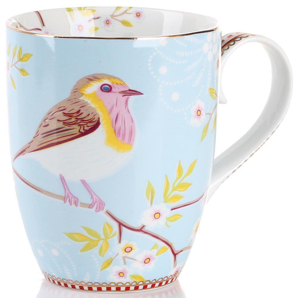Кружка Pip Studio Floral с птичкой голубая 350 мл