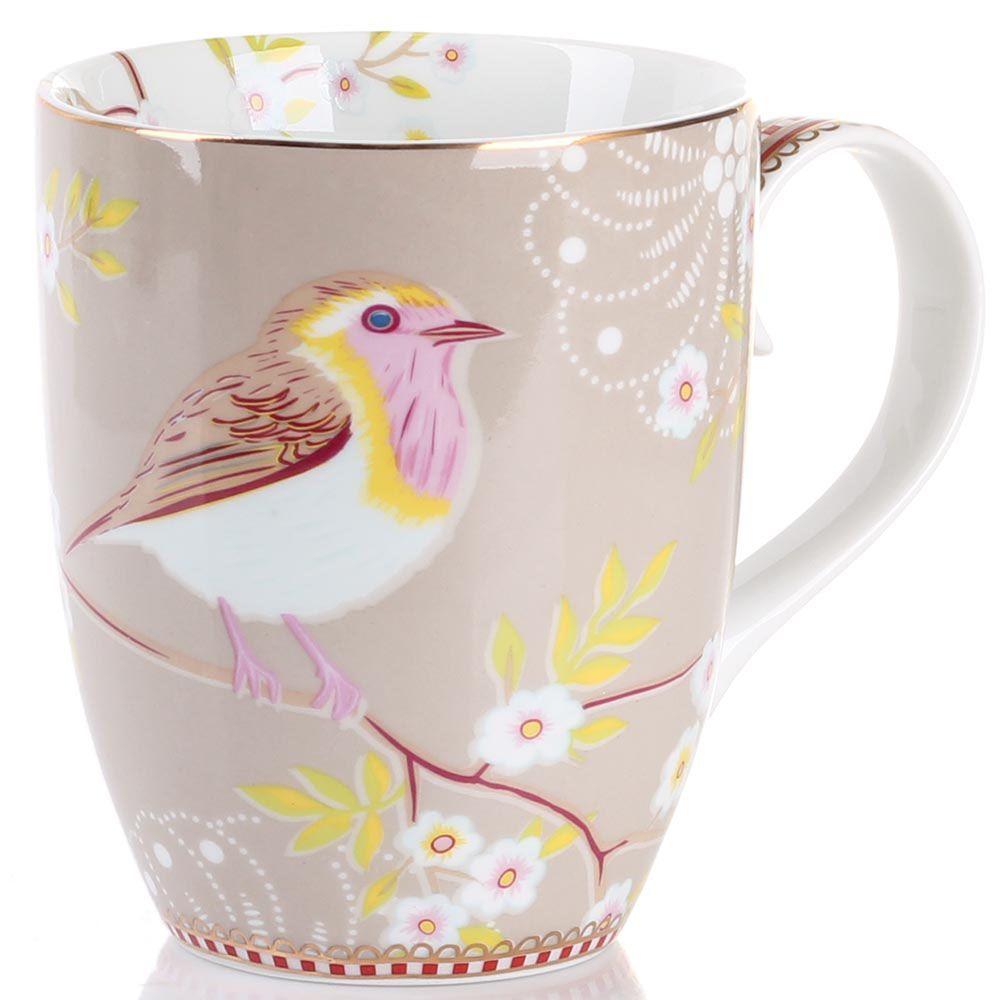 Кружка Pip Studio Floral с птичкой светло-коричневая 350 мл