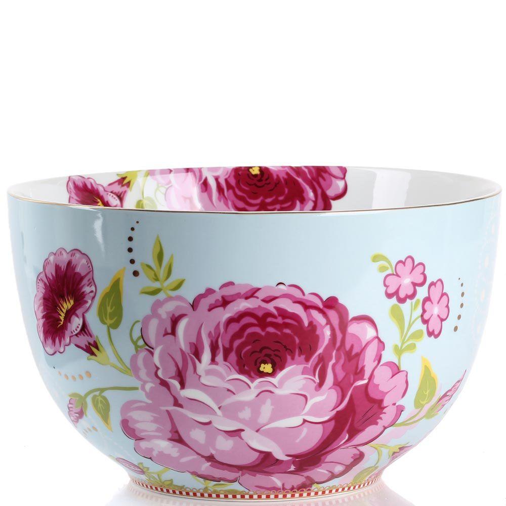 Большая пиала Pip Studio Floral голубая с цветочным принтом