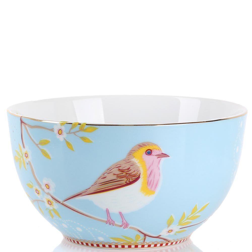 Маленькая пиала Pip Studio Floral голубая с птичкой