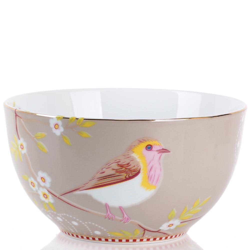 Маленькая пиала Pip Studio Floral светло-коричневая с птичкой