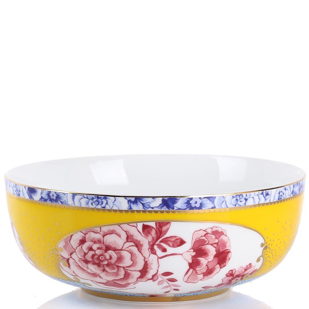 Пиала Pip Studio Royal желто-синяя с цветочным принтом
