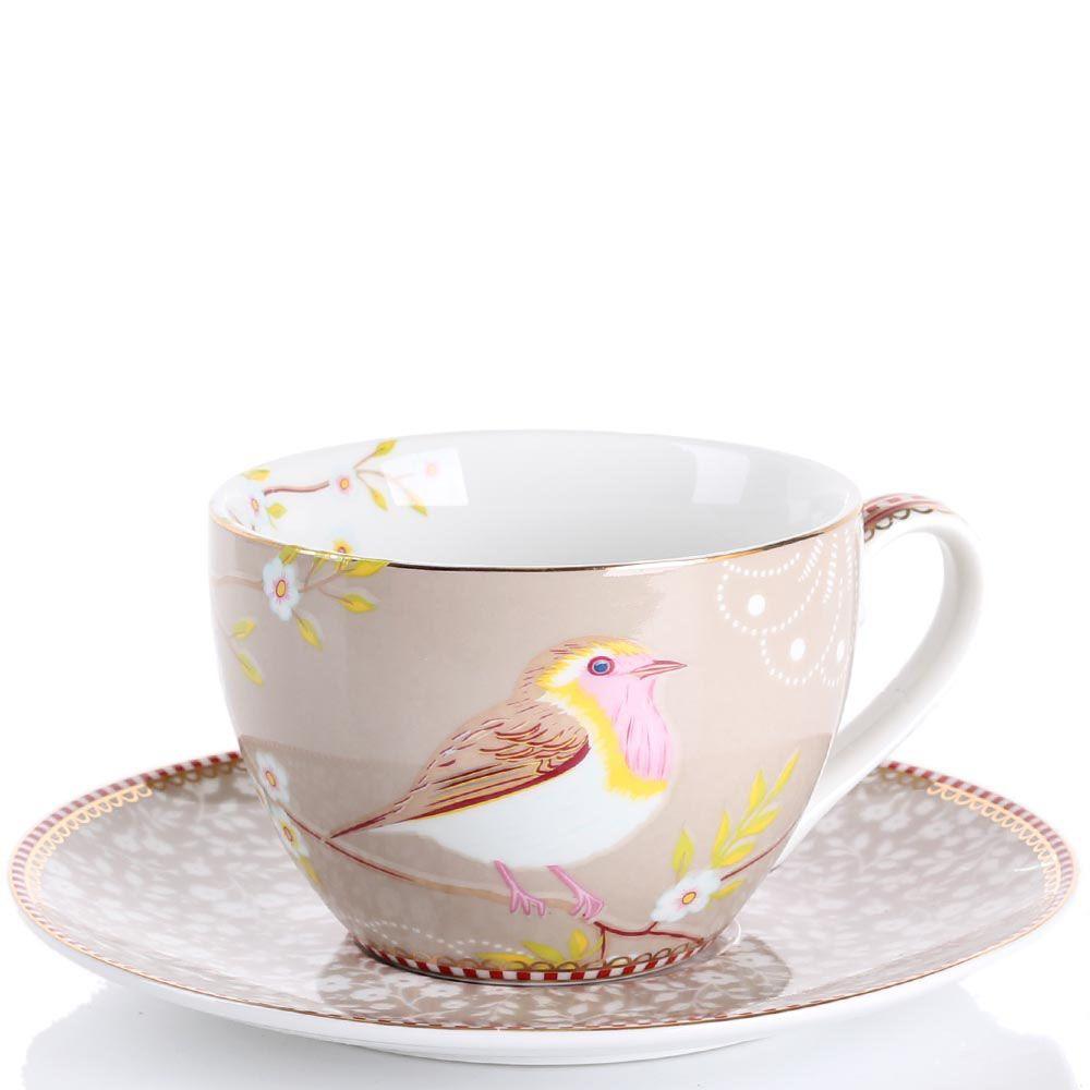 Чашка с блюдцем Pip Studio Floral светло-коричневая с птичкой 280 мл