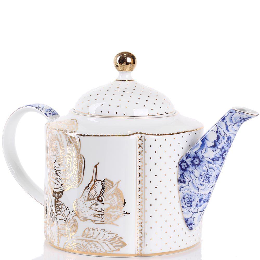 Чайник Pip Studio Royal бело-синий с золотым принтом 1.6 л