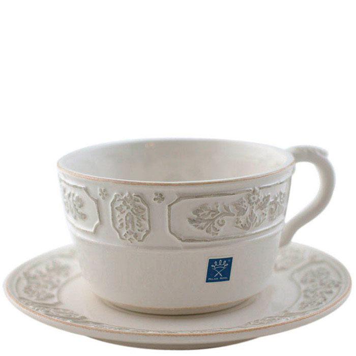 Чайная чашка с блюдцем Palais Royal из керамики белого цвета