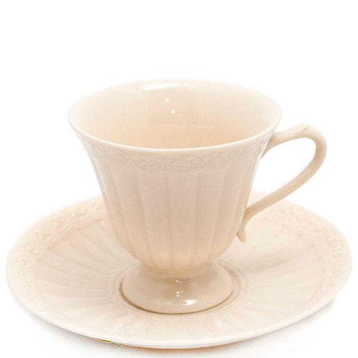 Кофейная чашка с блюдцем Palais Royal Crema бежевого цвета