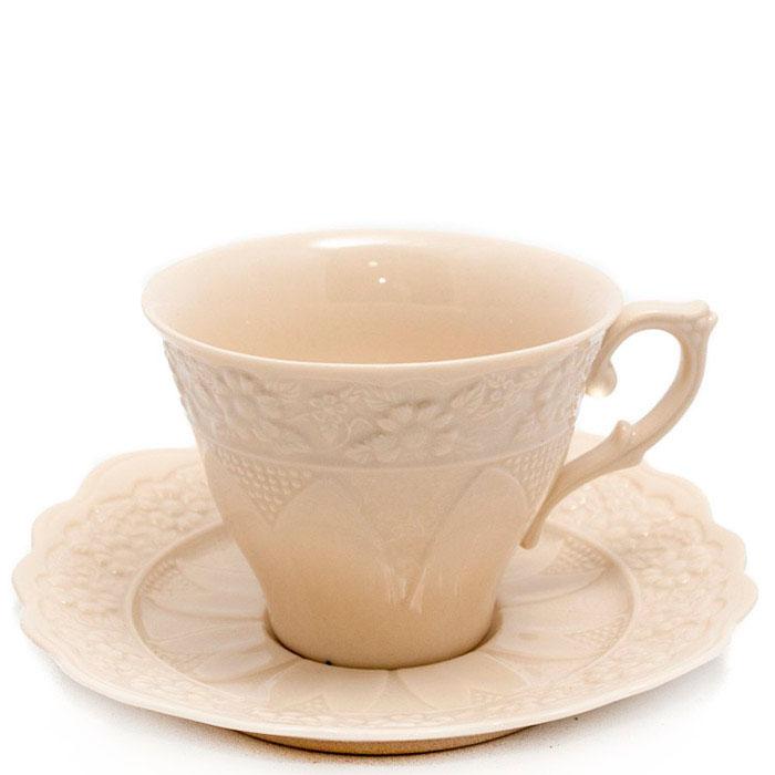 Белая чайная чашка с блюдцем Palais Royal Crema