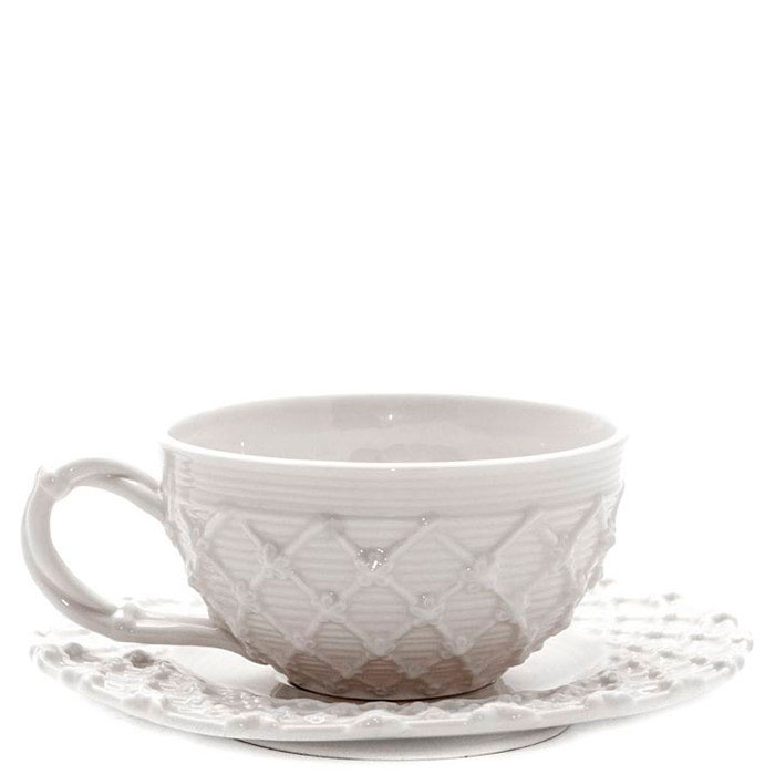 Кофейная чашка с блюдцем Palais Royal Trame in bianco