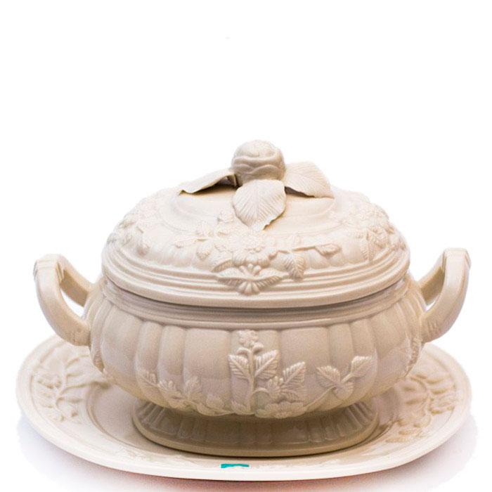 Супница с подносом Palais Royal из белой керамики
