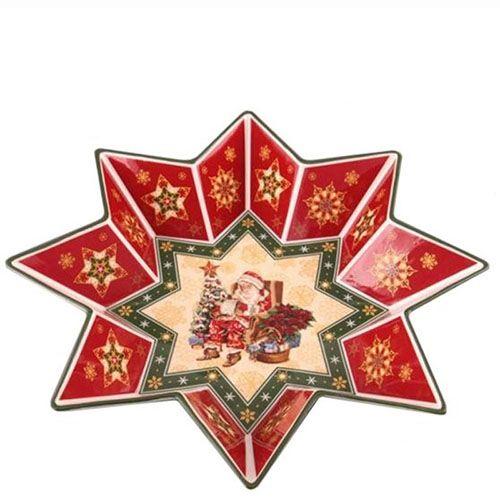 Блюдо из фарфора на тематику Новогодняя коллекция