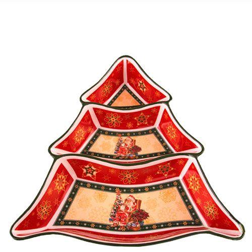 Менажница новогодняя на 3 секции с рисунком
