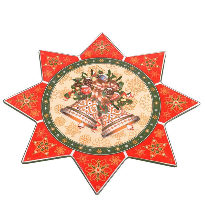 Блюдо фигурное Новогодняя коллекция с рисунком