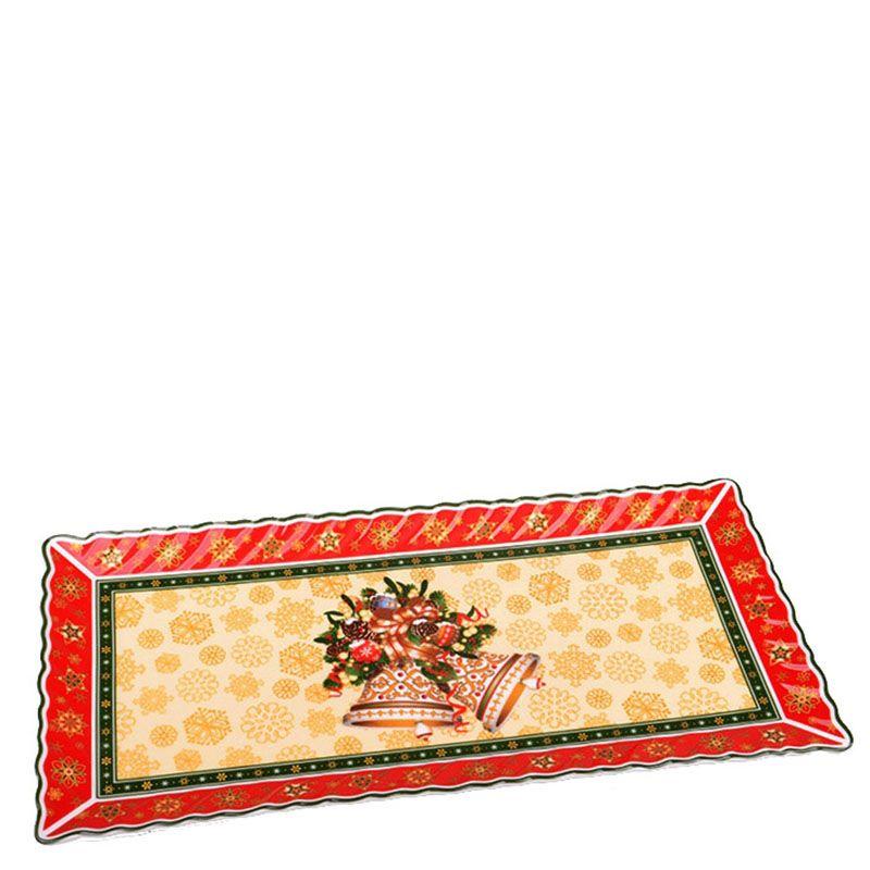 Фарфоровое блюдо прямоугольной формы на новогоднюю тематику