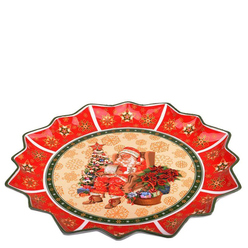 Блюдо круглое из фарфора Новогодняя коллекция