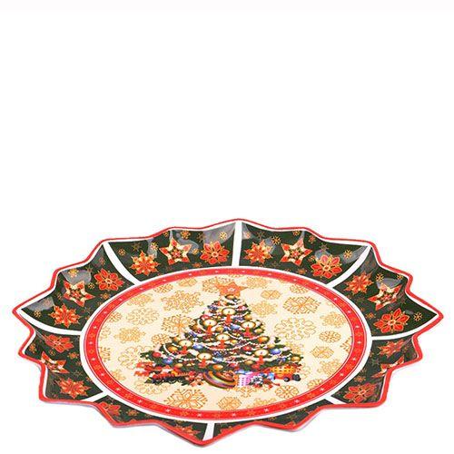 Круглое блюдо из фарфора Новогодняя коллекция