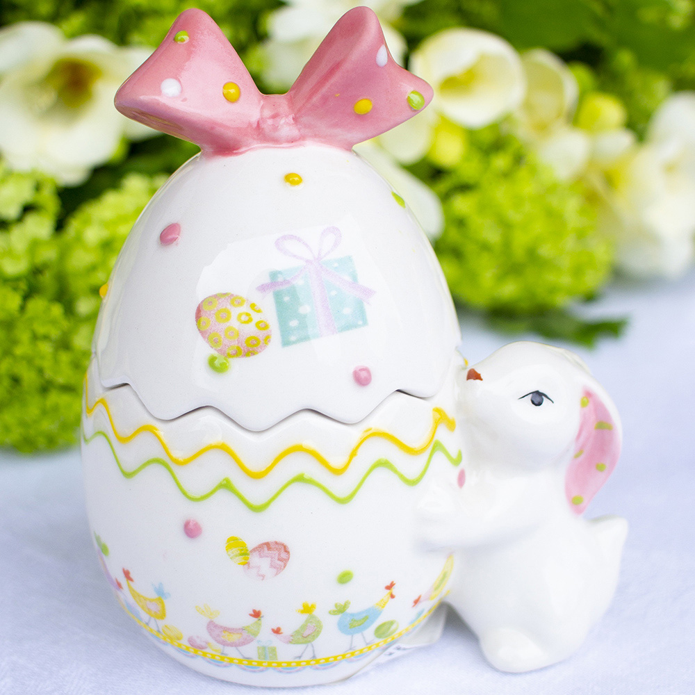 Керамическая емкость-яйцо G.Wurm с кроликом