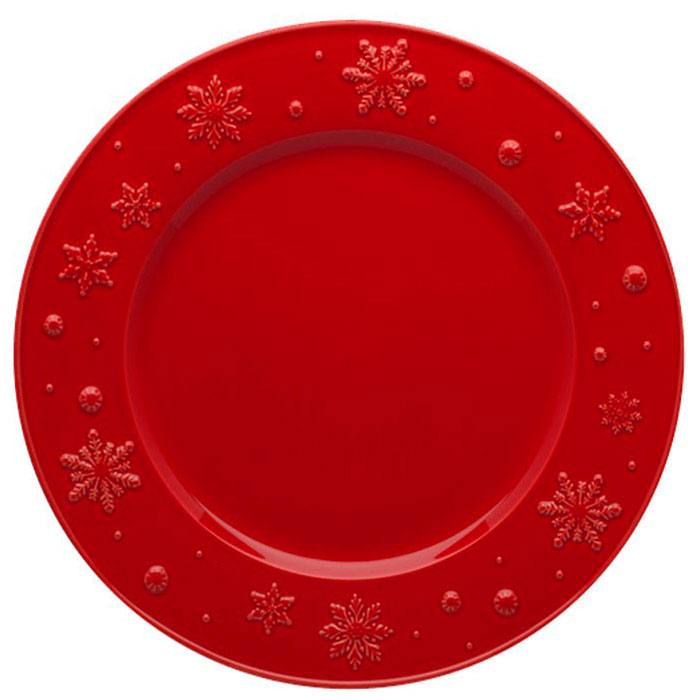 Обеденная тарелка Bordallo Pinheiro Снежинки красного цвета 28x2,5см