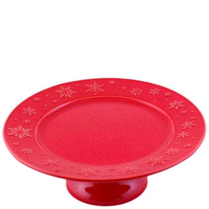 Тортовница Bordallo Pinheiro Снежинки красного цвета