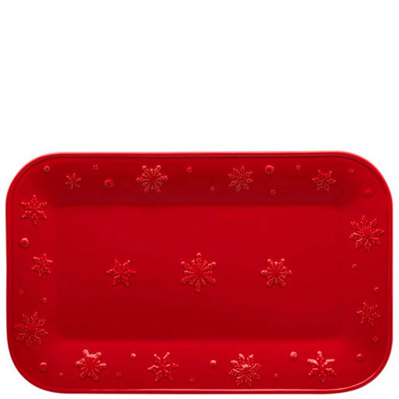 Блюдо Bordallo Pinheiro Снежинки прямоугольной формы красного цвета
