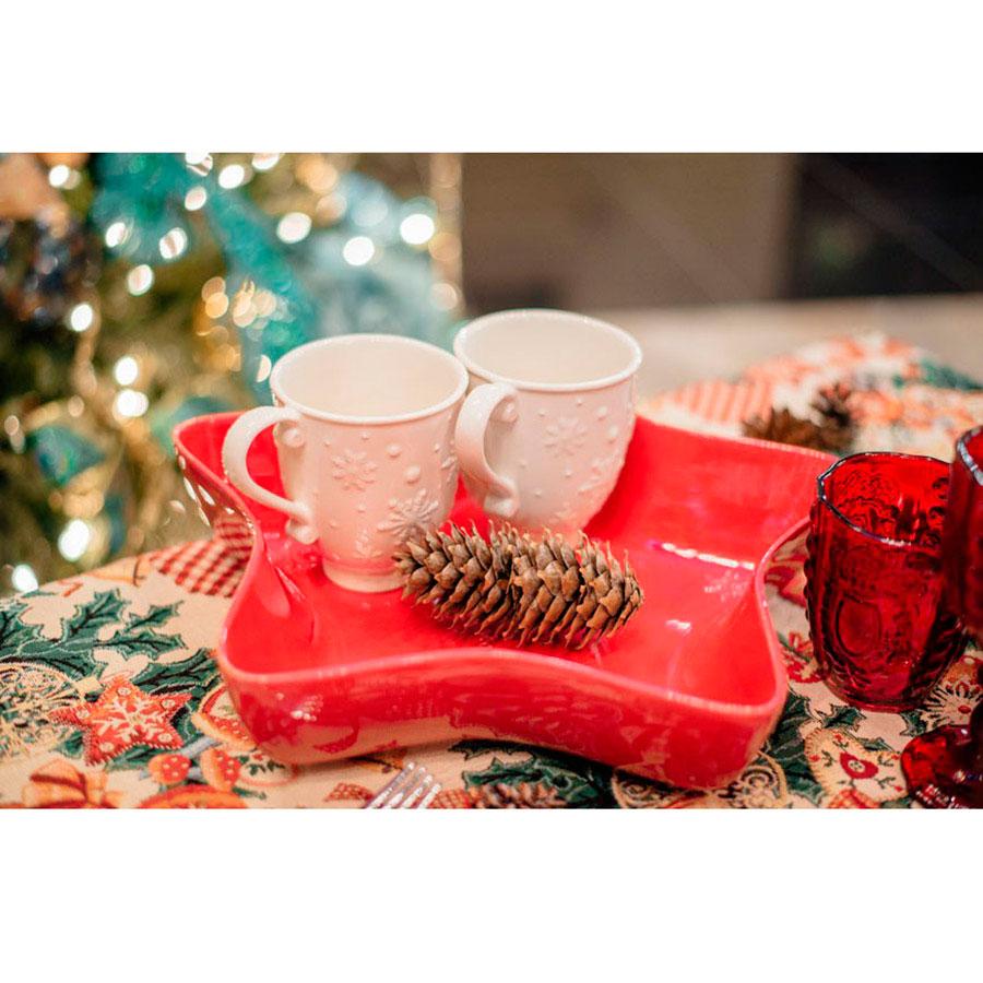 Керамическая чашка Bordallo Pinheiro Снежинки белого цвета