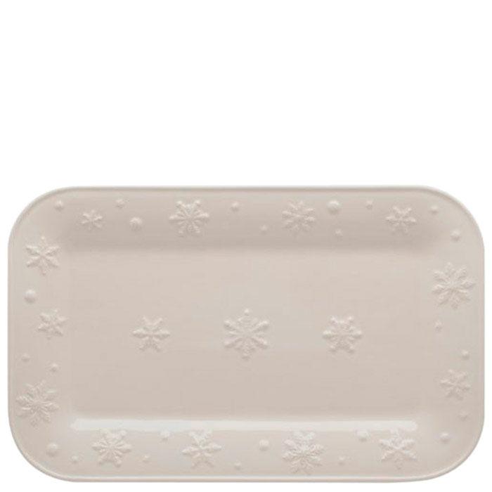 Блюдо Bordallo Pinheiro Снежинки белого цвета 34,5x21,5см
