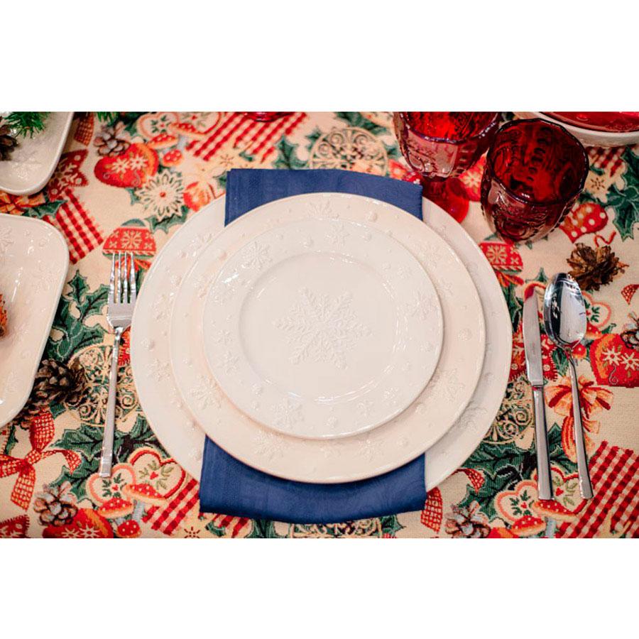 Блюдо из белой керамики Bordallo Pinheiro Снежинки 34см