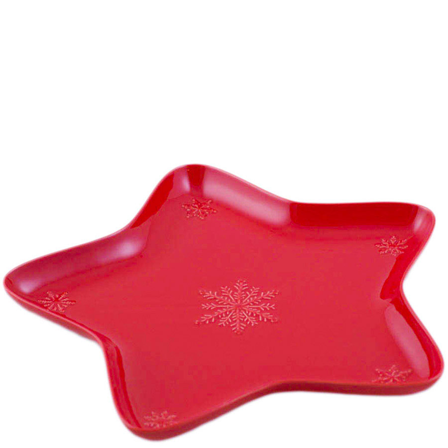Блюдо Bordallo Pinheiro Снежинки красного цвета 45x45см