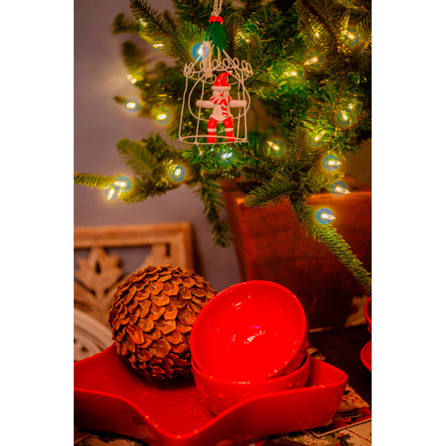 Блюдо красного цвета в виде звезды Bordallo Pinheiro Снежинки 37x37см