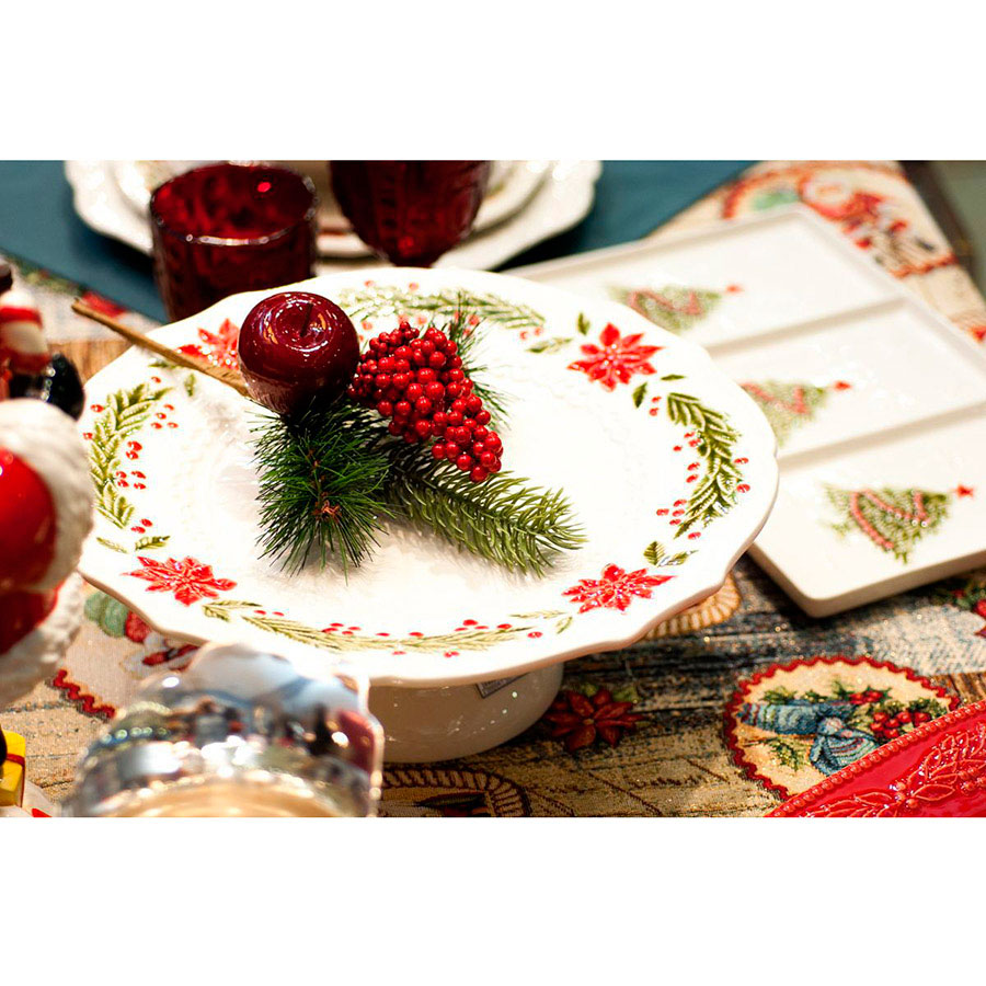 Тортовница Bordallo Pinheiro Рождество белого цвета