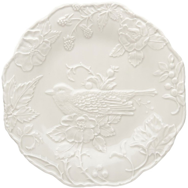 Обеденная тарелка Bordallo Pinheiro Артишок и птица белого цвета
