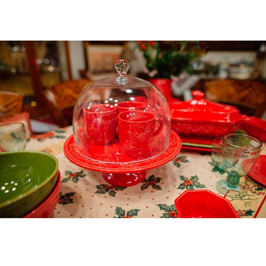Набор чашек на 6 персон Bordallo Pinheiro Зима красного цвета