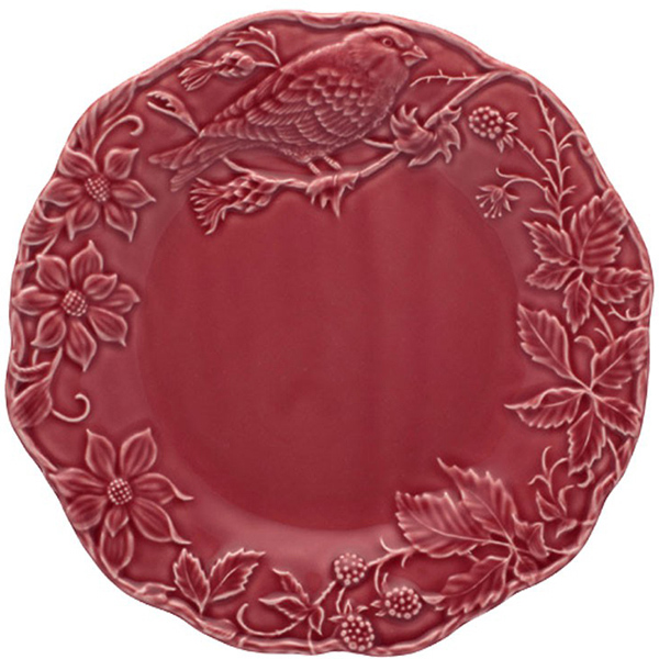 Тарелка обеденная Bordallo Pinheiro Артишок и птица бордовая