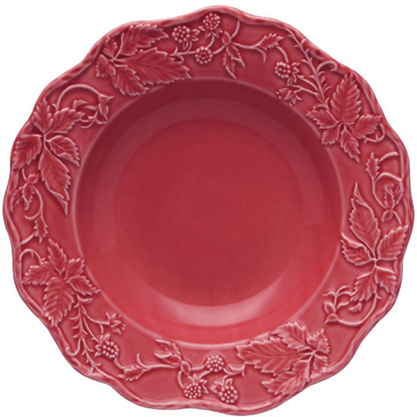 Бордовая глубокая тарелка Bordallo Pinheiro Артишок и птица