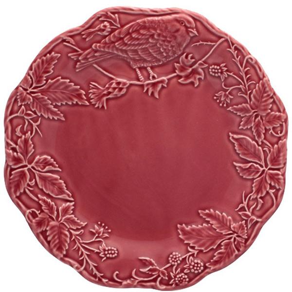 Бордовая тарелка Bordallo Pinheiro Артишок и птица