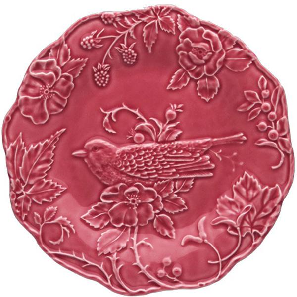 Обеденная тарелка Bordallo Pinheiro Артишок и птица бордового цвета