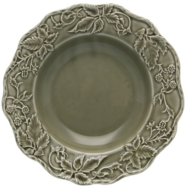 Зеленая глубокая тарелка Bordallo Pinheiro Артишок и птица