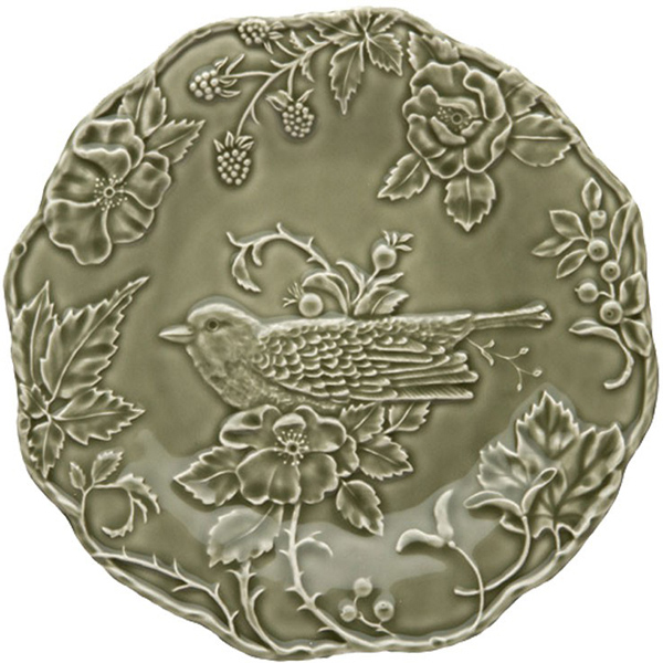 Зеленая обеденная тарелка Bordallo Pinheiro Артишок и птица