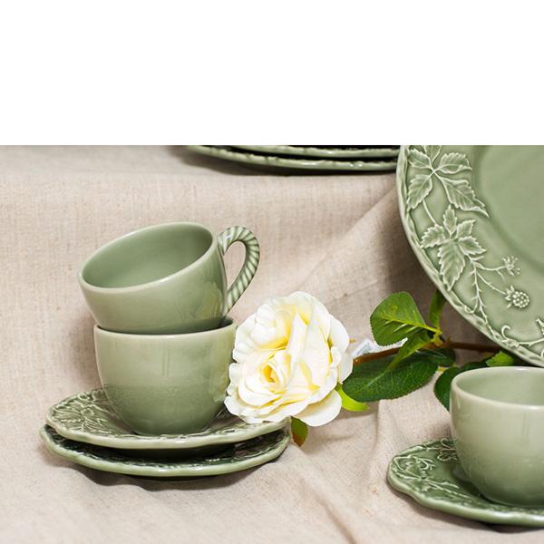 Набор из 6 чайных чашек с блюдцами Bordallo Pinheiro Артишок и птица зеленого цвета