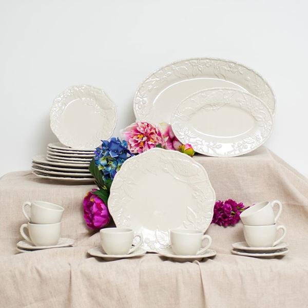Набор из 6 чайных чашек с блюдцами Bordallo Pinheiro Артишок и птица белого цвета