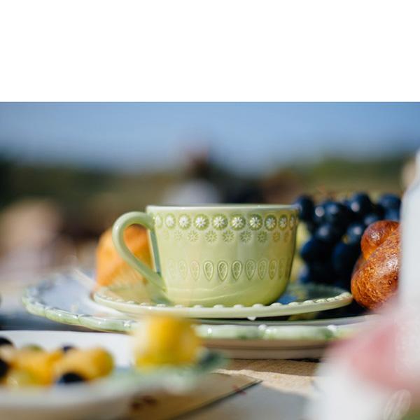 Набор из 6 чайных чашек с блюдцами Bordallo Pinheiro Фантазия зеленого цвета