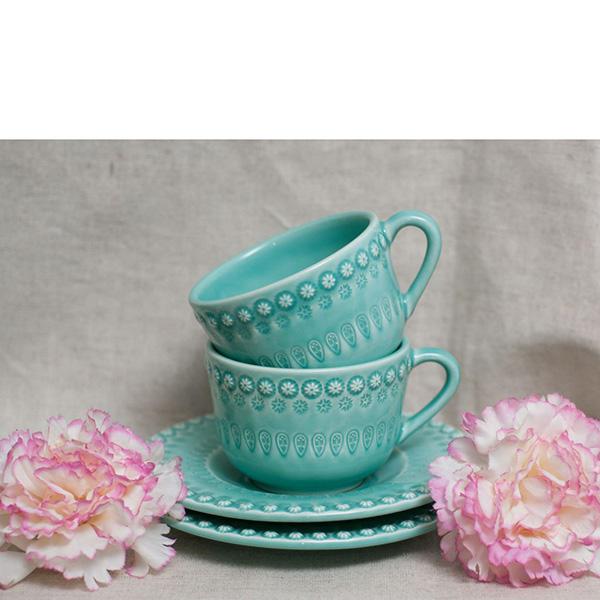 Бирюзовая чайная чашка с блюдцем Bordallo Pinheiro Фантазия