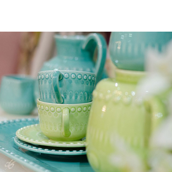Набор из 6 чайных чашек с блюдцами Bordallo Pinheiro Фантазия голубого цвета